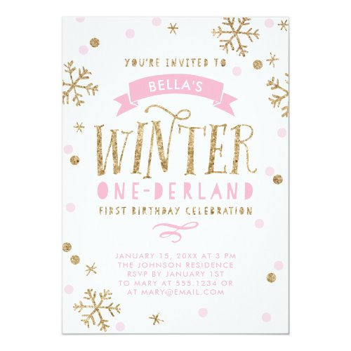 Gold and Pink Winter Onederland First Birthday Invitation