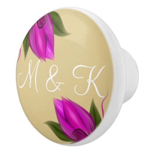Gold and White Pink Bloom Personalized Ceramic Knob