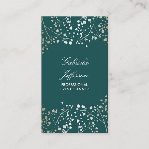 Gold Baby&#39&#x3B;s Breath and Teal Colors Elegant Floral Business Card