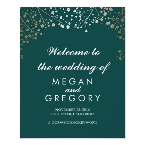 Gold Baby&#39&#x3B;s Breath Teal Wedding Welcome Sign