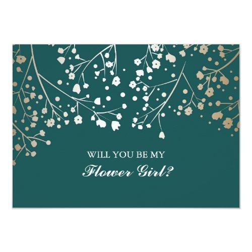 Gold Baby&#39&#x3B;s Breath Wedding Flower Girl Invitation