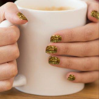 Gold Bling Pattern Minx Nail Art