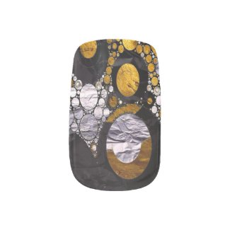 Gold/BLK Abstract Metal Texture Minx Nail Wraps