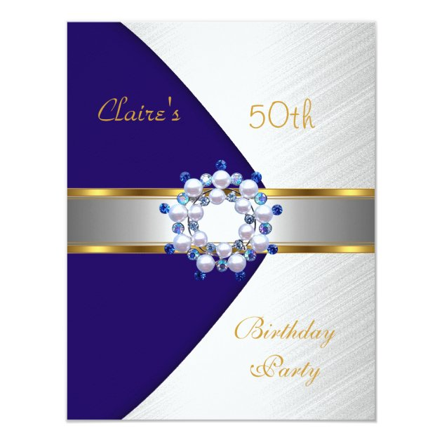 Gold Blue Navy White Invite 50th Birthday Party