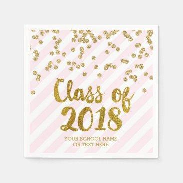 Gold Blush Pink Confetti Class of 2018 Graduation Napkin