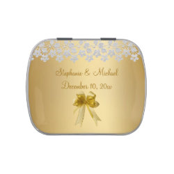 Gold Bow And Lace Candy Tin