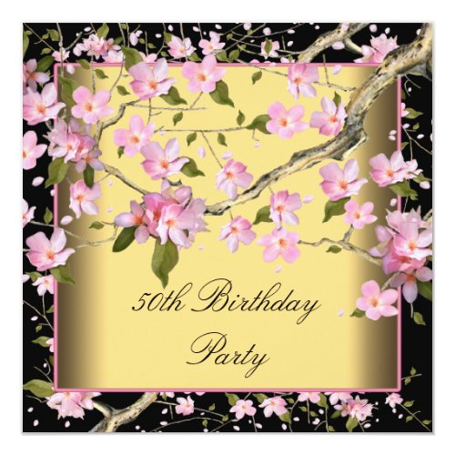 Gold Cherry Blossom Womans 50th Birthday Party Card