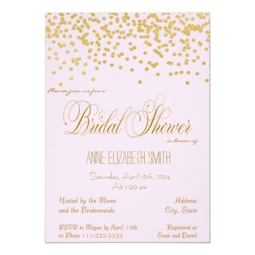 Pink And Gold Bridal Shower Invitations