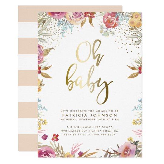 Gold Confetti Typography Fl Oh Baby Shower Invitation