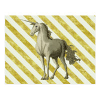 Gold & Cream Striped Vintage Unicorn Postcard