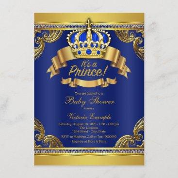 Gold Crown Royal Blue Prince Boy Baby Shower Invitation