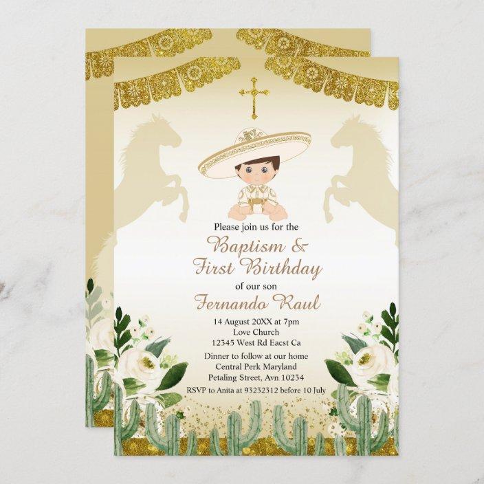 gold fiesta boy baptism and birthday invitation zazzle com