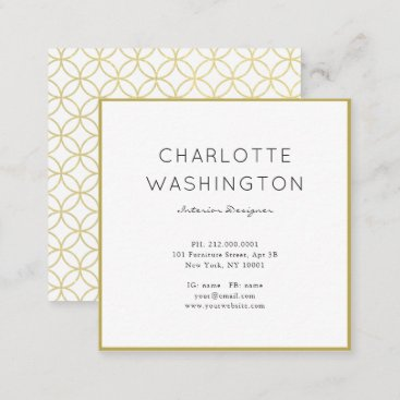 Gold Geometric Monogram Square Business Card