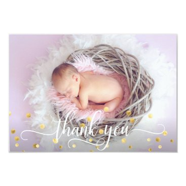 Gold GIRL Baby Shower THANK YOU | PHOTO   TEXT Card