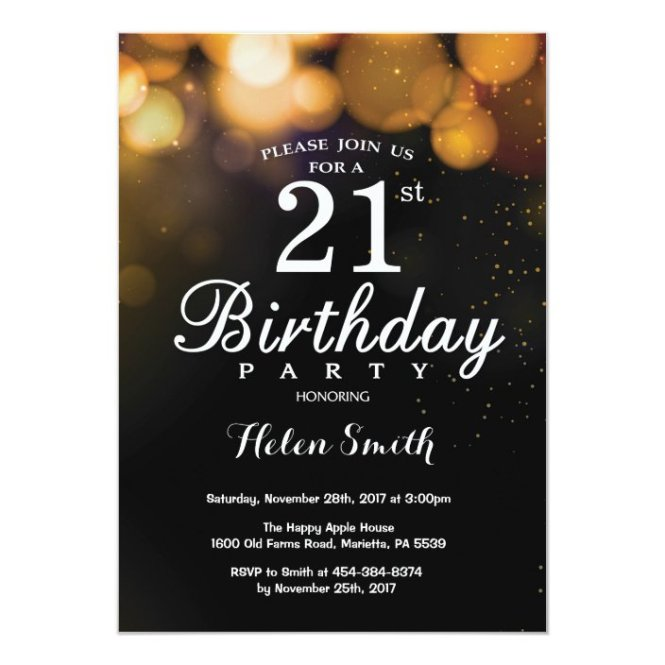 Gold Glitter 21st Birthday Invitation