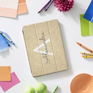 Gold Glitter and Sparkle Monogram iPad Pro Cover