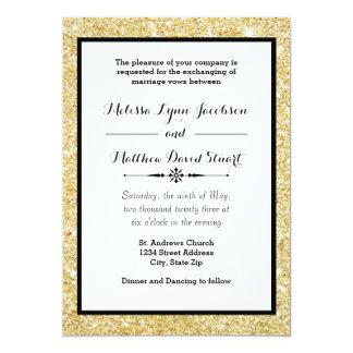 Gold Glitter Black Frame Wedding Invitation