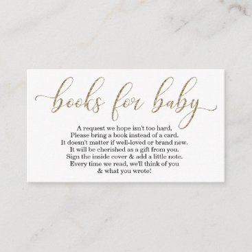 Gold Glitter Book Request - Baby Shower Invitation