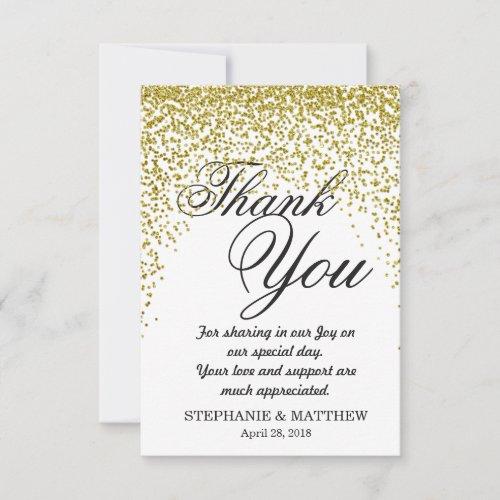 Gold Glitter Confetti Thank You Cards