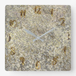 Gold Glitter Crackle Modern Chic Glam Sparkle Square Wall Clock