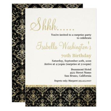 Gold Glitter Damask 70th Surprise Birthday Party Invitation
