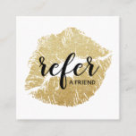 Gold Glitter Lips Refer a Friend Referral Card