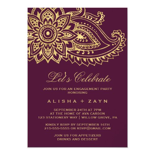Gold Indian Paisley Let&#39&#x3B;s Celebrate Invitation