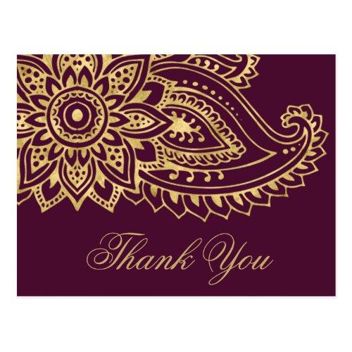 Gold Indian Paisley Wedding Thank You Postcard