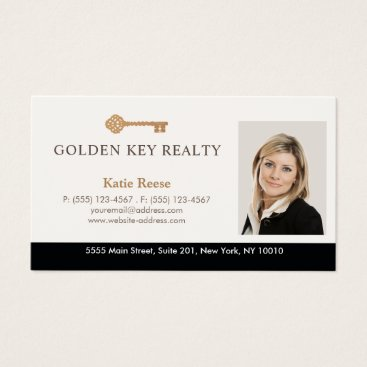 Gold Key Real Estate Agent Photo Business Card