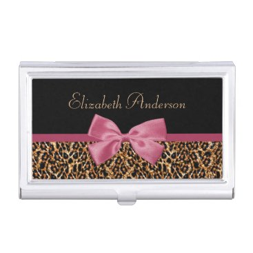 Gold Leopard Fur Chic Sangria Pink Bow With Name Business Card Case