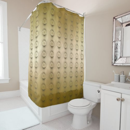 Gold Marble Rosette Tiled Shower Curtain