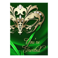 Gold Masquerade Green Jeweled Party Invitation