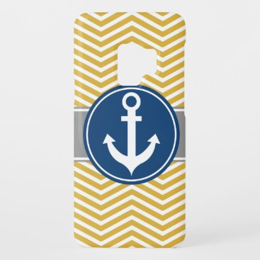 Gold Nautical Anchor Chevron Case-Mate Samsung Galaxy S9 Case