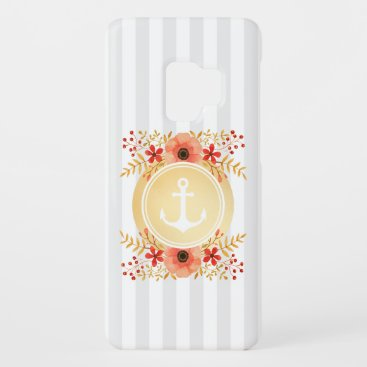 Gold Nautical Anchor Watercolor Floral Striped Case-Mate Samsung Galaxy S9 Case