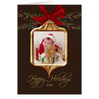 Gold Ornament Frame Photo Christmas Card