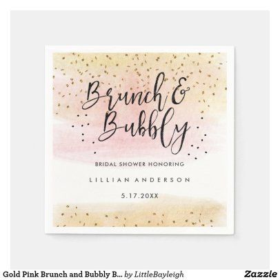 Gold Pink Brunch and Bubbly Bridal Shower Napkin