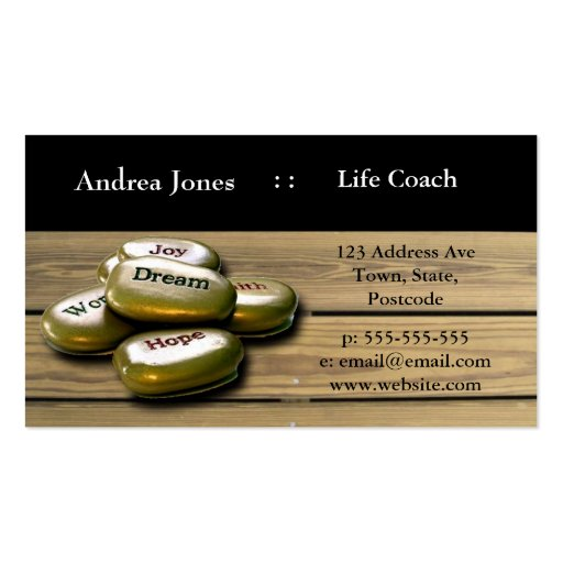 Gold Positive word stones life coach business card | Zazzle