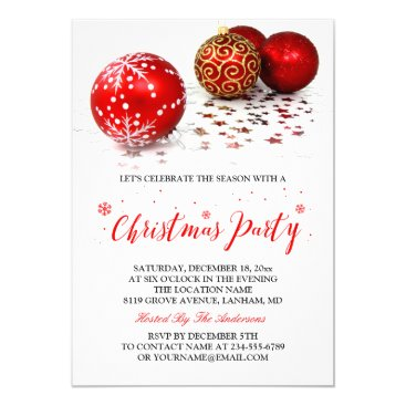 Gold Red Baubles Simple Stylish Christmas Party Invitation