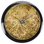 Gold,rustic,vintage,antique,damask,elegant,chic, Aqua Clock