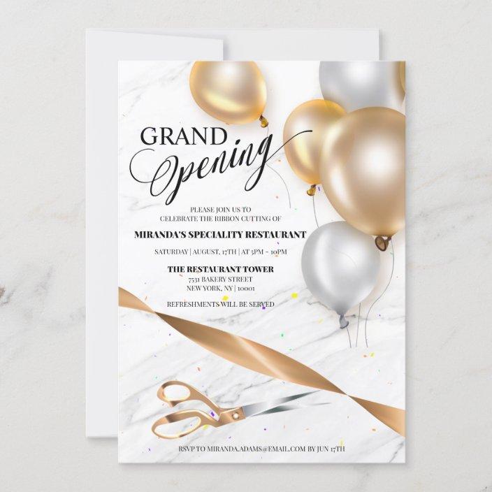 gold silver balloons restaurant grand opening invitation zazzle com