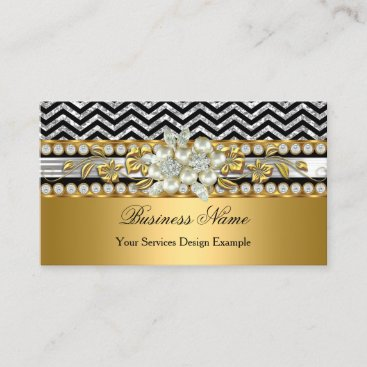 Gold Silver Black Chevron Diamond Pearl Floral Business Card
