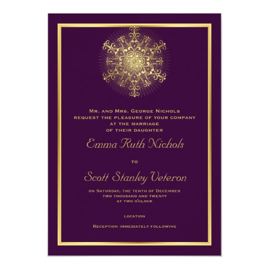 Gold Snowflake On Purple Elegant Winter Wedding Invitation