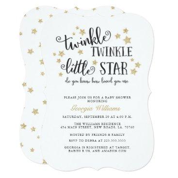 Gold Twinkle Twinkle Little Star Baby Shower Card