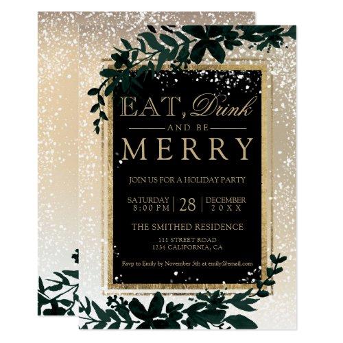 gold typography leaf snow elegant eat Christmas Invitation