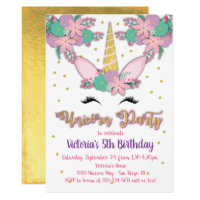 Gold Unicorn Floral Birthday Party Invitation