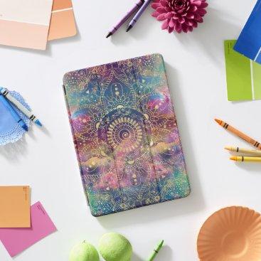 Gold watercolor and nebula mandala iPad pro cover