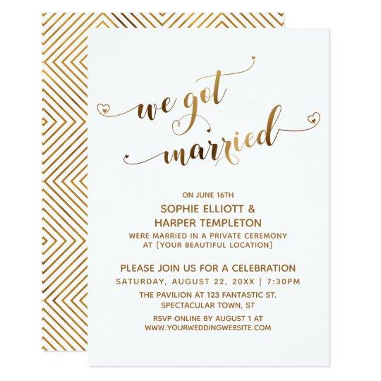 Gold We Got Married Post Wedding Celebration Invitation