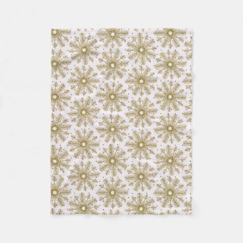 Gold winter Snowflake Snow Blanket Fleece