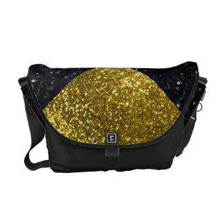 Golden and Black Glitters Courier Bag