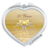 Golden Anniversary Dolphins and Heart Compact Mirror